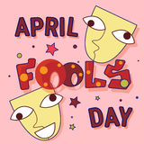 First April Fool Day Happy Holiday Greeting Card. Flat Vector Illustration Royalty Free Stock Image
