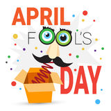 First April Fool Day Happy Holiday Greeting Card. Flat Vector Illustration Stock Images