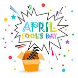 First April Fool Day Happy Holiday Greeting Card. Flat Vector Illustration Stock Photo