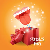 First April Fool Day Happy Holiday Greeting Card. Flat Vector Illustration Stock Photography