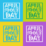 First April Fool Day Happy Holiday Greeting Card Set. Flat Vector Illustration Stock Photos