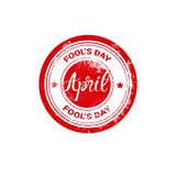 First April Fool Day Happy Holiday Greeting Card Stamp Stock Photo