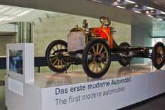 First automobile. The first modern automobile on display at Mercdes Benz Museum, Suttgart. Karl Benz was the German mechanical engineer who designed, patented Stock Photography