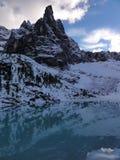 First autumn snow at Lago del Sorapiss Stock Photos