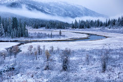 First autumn snow and the river in mountains Royalty Free Stock Images