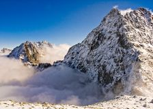 First autumn snowfall in the mountains Stock Images