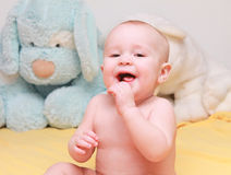 When the first baby laughed for the first time, its laugh broke into a thousand pieces Royalty Free Stock Photos