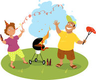 First barbecue of the season. Happy middle age couple grilling meat on a barbecue and celebrating the beginning of summer, EPS 8 vector illustration, no Stock Image