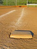 First Base. Down the line from first base to home plate Stock Image