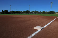 First Base on a Baseball Field Stock Photos