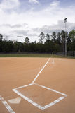 First Base Line. A view down the first base line on a baseball field Royalty Free Stock Image