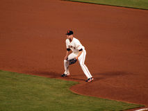 First baseman Aubrey Huff squats at first waiting Royalty Free Stock Image