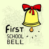 First bell. School background with ringing school bell. Stock Photo