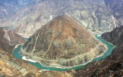 The First Bend of the Yangtze River. In Shangri-la Royalty Free Stock Photo