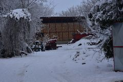 The first snow at my home royalty free stock photo
