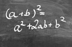 First binomial formula, written on a chalkboard. First binomial formula, written with white chalk on a blackborad royalty free stock photos