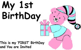 First birthday. My first birthday with invitation Stock Photos