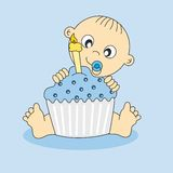 First Birthday. Baby boy card with a birthday cake. first Birthday Stock Images