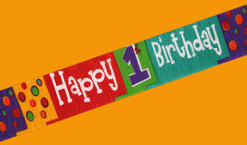 First birthday. Banner stating happy first birthday isolated on a color background Stock Photography