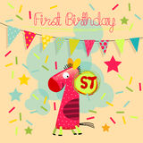 First birthday. First anniversary, birthday card. First birthday vector card, number one toy Stock Image