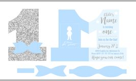 First birthday boy`s party. Printable invitation card for little prince. Silver glitter and blue. Shaped invite - number one. Template have place for real child Stock Image