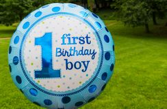 First birthday boy text on ballon Royalty Free Stock Photography