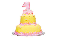 First birthday cake Stock Images