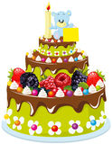 First birthday cake. Illustration of tiered first birthday cake with fruit and teddy bear on top holding blank sign, white background Royalty Free Stock Photo