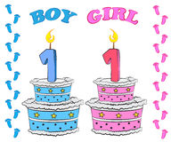 First Birthday Cake for Boy and Girl. Sweet cake for first birthday, for boy and girl in pink and blue colour Stock Image