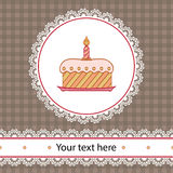 First birthday cake. First birthday card with cake and candle in circle lace frame Stock Photos