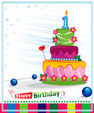 First Birthday Cake. Children postcard. Royalty Free Stock Images