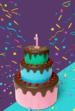 First birthday cake 3d rendering. Cute First birthday cake with candle and colorful Confetti 3d rendering Royalty Free Stock Photo