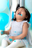 First birthday cake smashing Royalty Free Stock Image