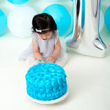 First birthday cake smashing Royalty Free Stock Photo