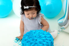 First birthday cake smashing Royalty Free Stock Photography