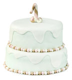First birthday cake on white background Royalty Free Stock Images
