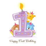 First Birthday Candle with Animals. Illustration of Birthday Candle and Animals Isolated Stock Photo
