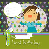 First birthday card. First birthday. Vector happy birthday greeting card, birthday invitation. Anniversary celebration greeting card. Girl singing, speech bubble Royalty Free Stock Photo