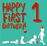 The first birthday card . Vector illustration. Postcard shows how the baby develops in the first year of life Stock Photo