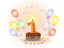 First birthday,CMYK. First birthday pie and balloons Royalty Free Stock Image