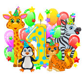 First birthday composition cute animals Stock Photography