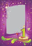 First birthday frame. Bright anniversary card with cake Royalty Free Stock Images