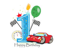 First birthday greeting card. Car vector illustration background. First birthday greeting card. Car vector illustration Royalty Free Stock Images