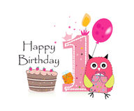 First birthday greeting card. Cute pink owl, balloon and birthday cake vector background Stock Photos