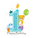 First birthday greeting card. Teddy bear, bunny and chick vector background Stock Photography