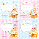 First birthday invitation card set. For boy and girl, plaid and striped stock illustration