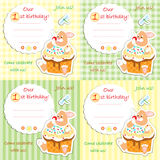 First birthday invitation card set. With plaid and striped background royalty free illustration