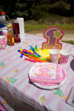 First Birthday party in a park. With cups and plates Stock Photography