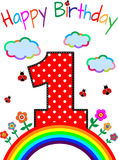 First birthday. Picture for the first birthday with a rainbow and flowers Stock Photography