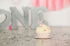 First birthday pink cake with flowers for little baby girl and decorations for cake smash. Big silver letters ONE and pink and. White baloons royalty free stock images